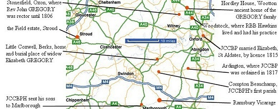Oxford to Stroud map
